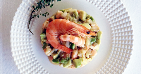 Avocado and prawn tartare